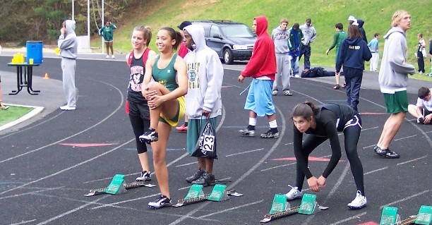 Left to right -Meredith Mercer (North Buncombe), Whitney Stafford (ACR) and SophiaTreakle (Asheville) at Buncombe County Championships 2007